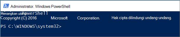 Tampilan PowerShell pada kali pertama Anda membukanya.