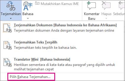 Memilih Bahasa Terjemahan