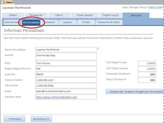 Tab Info Perusahaan dari templat database Services