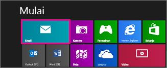 Halaman Mulai Windows 8 memperlihatkan petak Mail