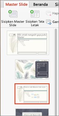 Panel gambar mini memperlihatkan tata letak saat mengedit master slide