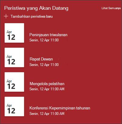 Cuplikan layar komponen web acara