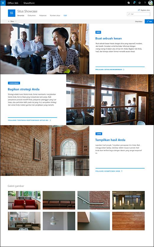 Desain menampilkan situs SharePoint komunikasi