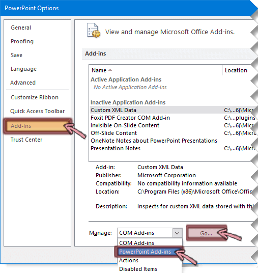Buka daftar Add-in PowerPoint, dan lalu klik buka