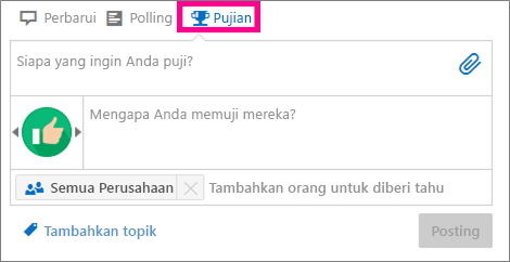 Kotak dialog Pujian