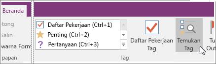 Cuplikan layar tombol Temukan Tag di OneNote 2016