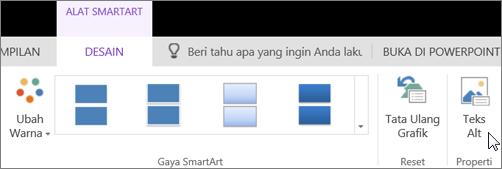 Cuplikan layar memperlihatkan tab Desain Alat SmartArt dengan kursor yang menunjuk ke opsi Teks Alt.
