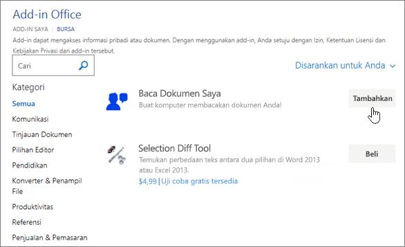 Cuplikan layar halaman aplikasi untuk Office di toko tempat Anda bisa memilih atau Cari aplikasi untuk Word.