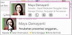 Menu cepat Outlook Skype for Business