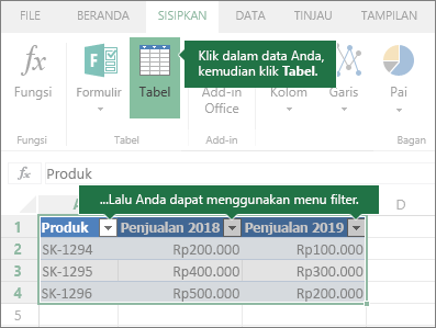 Tab Sisipkan, tombol Tabel, menu Filter