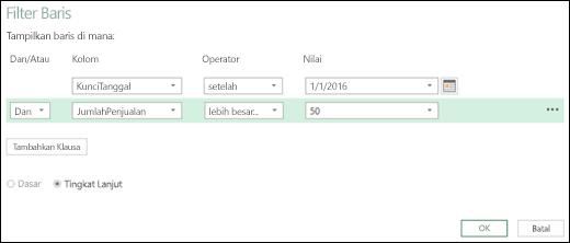 Dialog Filter Baris Tingkat Lanjut Excel Power BI dalam Editor Kueri