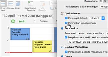 Kalender di sisi kiri dan kotak dialog di sisi kanan