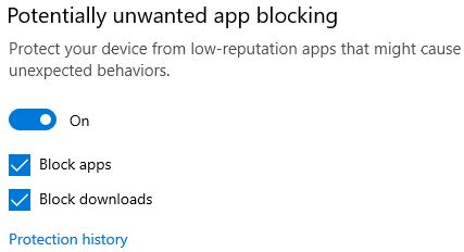 The potentially unwanted app blocking control in Windows 10.