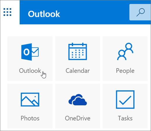 Cuplikan layar memperlihatkan ubin Outlook dipilih.