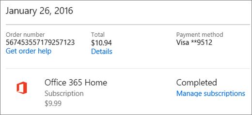 Contoh halaman Riwayat pesanan, menampilkan detail pesanan untuk langganan Office 365 Home.
