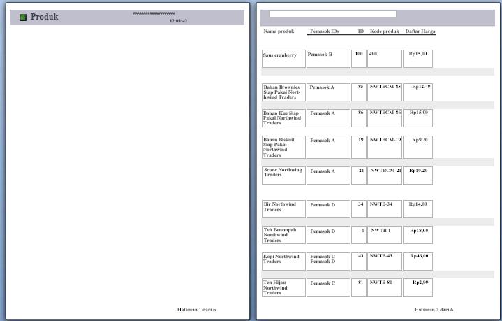 pratinjau halaman laporan dengan hentian halaman diterapkan