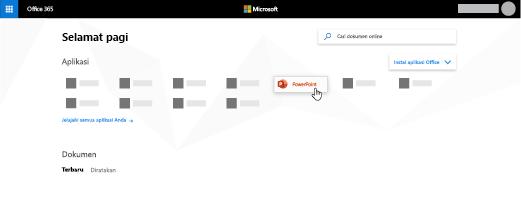 Laman Office 365 dengan aplikasi PowerPoint disorot