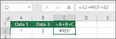 Kesalahan #REF! akibat menghapus kolom.  Rumus telah berubah menjadi =A2+#REF!+B2
