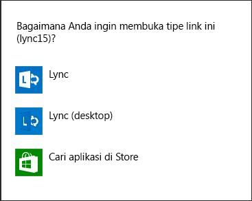 Cuplikan layar pemberitahuan Lync untuk memilih program