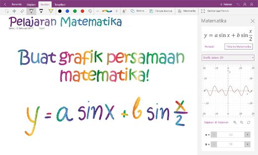 Persamaan matematika grafik di OneNote untuk Windows 10