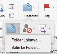 Memindahkan atau menyalin pesan antar folder