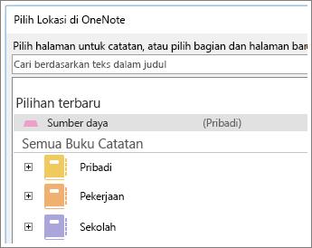 Cuplikan layar jendela OneNote di mana Anda bisa memilih halaman yang dibuat catatan Skype.