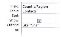 """Gambar perancang kueri menunjukkan kriteria yang menggunakan operator berikut, """"like wildcard in a"""""""
