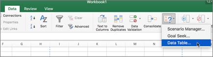 Opsi tabel data