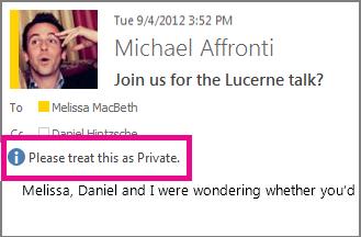 Pesan dengan pengaturan privasi muncul ketika seseorang membuka email Anda.