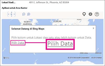 Memilih Data untuk Aplikasi Bing Maps untuk Office dalam aplikasi Access