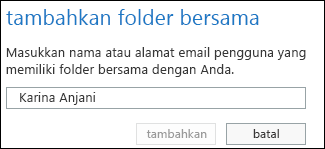 Kotak dialog Menambahkan folder bersama Outlook Web App