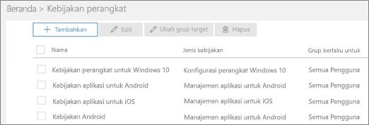 Cuplikan layar halaman Kebijakan
