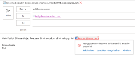 Memperlihatkan nama tautan yang mudah dilampirkan untuk dokumen yang dilampirkan