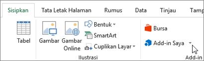 Cuplikan layar bagian tab Sisipkan pada pita Excel dengan kursor mengarah ke Add-in. Pilih Add-in untuk mengakses add-in untuk Excel.