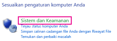 Link Sistem dan Keamanan Windows 8 di Panel Kontrol