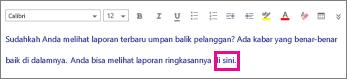 Cuplikan layar memperlihatkan menyoroti kata yang akan diformat.