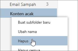 Cuplikan layar dari menu Konteks Folder dengan dipilih Hapus
