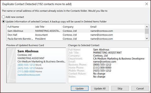 Pilih apa yang ingin Anda lakukan dengan kontak duplikat.