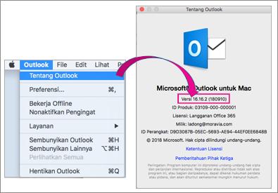 Pilih Outlook tentang Outlook untuk mengetahui versi Anda