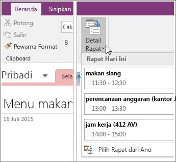 Cuplikan layar tombol Detail Rapat di OneNote 2016.
