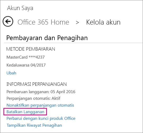 """Cuplikan layar halaman Kelola akun dengan link """"Batalkan Langganan"""" dipilih."""