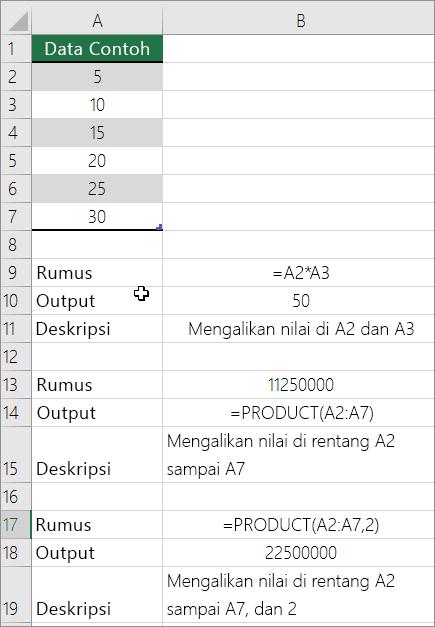 Mengalikan angka menggunakan fungsi PRODUCT