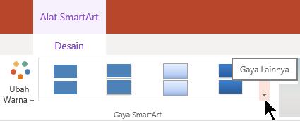Di bawah alat SmartArt, pilih panah gaya lainnya untuk membuka galeri gaya SmartArt