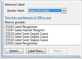 Opsi nomor produk dan vendor label
