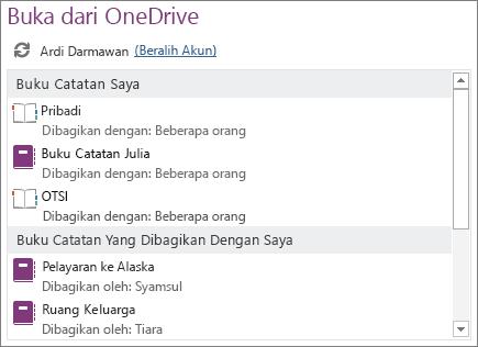 Cuplikan layar area Buka Dari OneDrive di halaman Buka tampilan Backstage