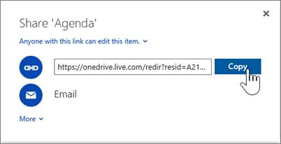 Cuplikan layar dari opsi Dapatkan Tautan dalam kotak dialog Bagikan di OneDrive