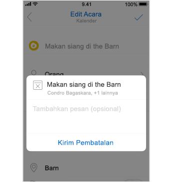 Layar pembatalan dengan ruang untuk menambahkan pesan