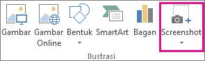 Tombol Cuplikan layar dalam grup Ilustrasi