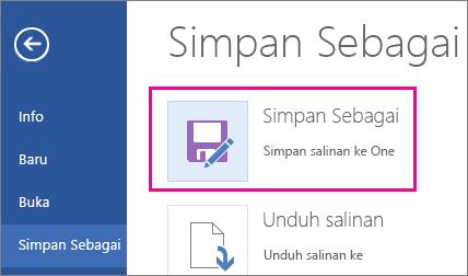 Menyimpan salinan ke OneDrive
