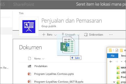 Menyeret file ke pustaka dokumen SharePoint